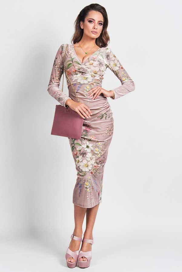 022-Sexy plis cvjetna svjetla haljina